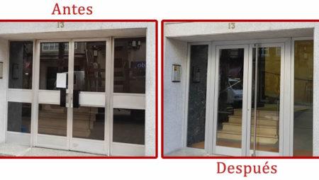 Sustitución de portal de entrada de edificio